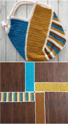 Crochet Windmill Bag - Knitting Bordado - Her Crochet Free Crochet Bag, Crochet Purse Patterns, Crochet Shell Stitch, Crochet Gifts, Modern Crochet Patterns, Crochet Stitches, Crochet Handbags, Crochet Purses, Crochet Hooks