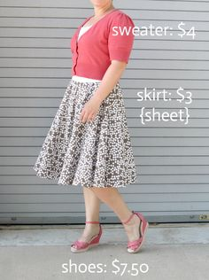 DIY circle skirt from a thriftedsheet completes a thrifted outfit for under $15 - itsalwaysautumn - it's always autumn
