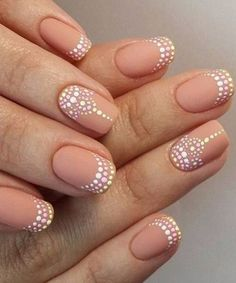 Prettiest Whit Dotted Pink Nail Art Designs