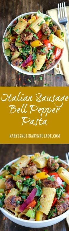 Italian Sausage Bell Pepper Pasta is a hearty, delicious meal in a bowl. Spicy Italian sausage adds wonderful flavor and a little heat to bright peppers and onions, and hearty greens | Posted By: DebbieNet.com