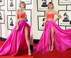 Taylor Swift Style Awards 2015 at Red Carpet in London _Taylor Swift flashes some leg in a green dress while hitting the 2015 Elle Style Awards held at FYI: shoes, Lorraine Schwartz jewels, and Ofira bands_