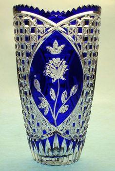Lead Crystal Vase in Cobalt Blue Crystal Glassware, Crystal Vase, Antique Glassware, Cobalt Glass, Cobalt Blue, Cut Glass, Glass Art, Vases, Glass Ceramic