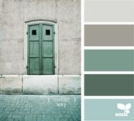 Blue-green and grey color palette...love these colors for the master