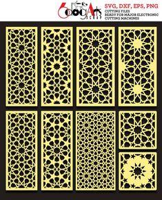 Arabesque Pattern Panel Templates Digital Stencils Cut Svg Dxf Files Room Screen Divider Laser Die C Room Divider Screen, Room Screen, Room Dividers, Decorative Metal Screen, Decorative Panels, Motif Arabesque, Make It Easy, Jaali Design, Stencils