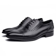 125$ Men Perforated Cap Toe Leather Oxford Shoes