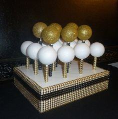 gold black bling faux rhinestone white cake pop stand lollipop holder display candy buffet table rustic shabby glam Hollywood chic wedding