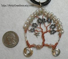 Hand Made Tree of Life Pendant Wire Wrapped Copper & Sterling Silver with Bird OOAK - T9