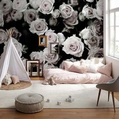 Rose bouquet wallpaper - Wall Decor - Black and White Rose Wallpaper, Wallpaper Online, Wall Wallpaper, Commercial Wallpaper, Im Coming Home, Cool Kids Bedrooms, Old Rose, Prepasted Wallpaper, Black Decor