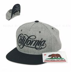 70472faa82f 3D Coke Font California Snapback Hat Baseball Cap Flat Bill Black Heather  Gray  Clover  BaseballCap