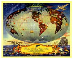 A real bells and whistles kind of ad for Pan American World Airlines from 1941. #forties #1940s #ad #map #vintage #airline #travel #plane