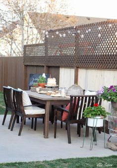 Lovely patio and privacy lattice for small backyard.