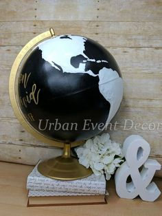 Custom 12 Globe with Metal Base Black and Gold by UrbanEventDecor