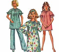 Full Length Nightgown Pattern Short Nightgown Pattern Pajamas Pattern Vintage 1960s Pattern Simplicity 8511 Bust 34 36 by TheOldLeaf on Etsy