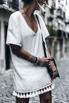 Le Fashion Blog Blogger Style Vacation Look Layered Necklaces Anine Bing White Dress With Tassels Bracelet Stack Small Black Leather Crossbody Bag Via @Mikutas Photo by lefashion | Photobucket