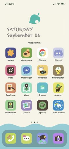 Cover App, App Covers, Animal Crossing Fan Art, Animal Crossing Characters, Iphone Homescreen Wallpaper, Phone Themes, Iphone App Layout, Motifs Animal, Iphone Design