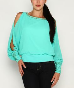 Look at this Jade Embellished Cutout Blouson Top on #zulily today!