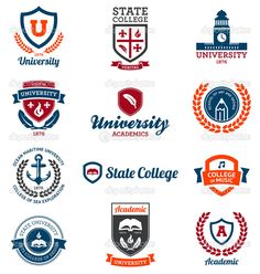 University and college emblems #design #vector #eps Download: http://depositphotos.com/11095836/stock-illustration-university-and-college-emblems.html?ref=5747528