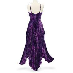 Purple Velvet Bustle Dress ($120) ❤ liked on Polyvore featuring dresses, gothic dress, dressy dresses, purple fancy dress, renaissance dress and purple cocktail dress