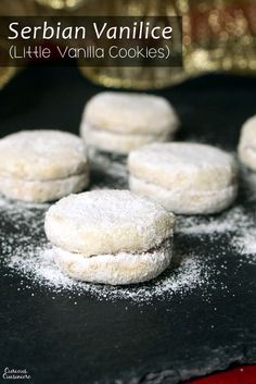 Vanilice are bite-sized Serbian Vanilla Cookies that are seriously addicting. With a nutty sweetness and a soft jam filling they're the perfect recipe to add to your next cookie platter! Christmas Baking, Christmas Cookies, Christmas Recipes, Holiday Recipes, Cookie Recipes, Dessert Recipes, Macedonian Food, Croatian Recipes, Bosnian Recipes