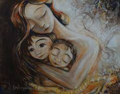 mother and child art - moments of motherhood captured in paint on canvas. Original art for sale, featuring mother and son, mother and daughter, family portraits and emotion. Second Child, Mother And Child, Mother Art, Mothers Love, Mother Gifts, Girl Gifts, Illustration, Art For Kids, Original Paintings