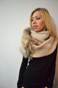 Fur adornment on infinity scarf - $200-$300 (not including scarf or brooch