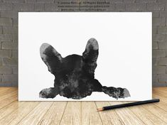 French Bulldog Drawing, Black Dog Silhouette, Frenchie Poster, Abstract Dog Art Print