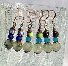 Pale Green Prehnite Earrings Small Drop Earrings Ocean