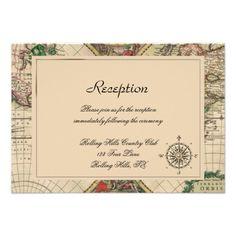 Antique Old World Map Wedding Reception Invites