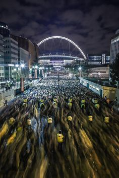 90,000 people leaving the Wembley  Stadium. Most insanely packed crowd I've ever seen