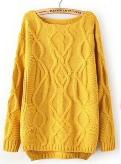 Yellow Cable Knit Jumper. with some black leggings! super cozy :)