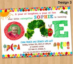 Very Hungry Caterpillar Invitation - First Birthday Party Printable Photo Invite Custom Personalized Card Supplies 4x6 or 5x7 1st