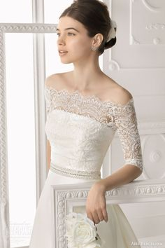 aire barcelona bridal 2014 orleans wedding dress off shoulder lace jacket half sleeves