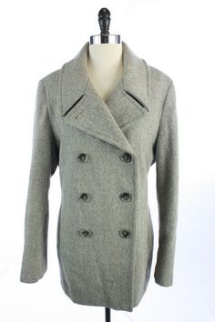 Recycle Your Fashions CALVIN KLEIN Gray WOOL Blend TWEED Double Breasted PEACOAT JACKET Top XL