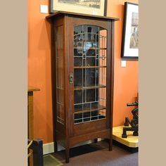 "Arts and Crafts | Craftsman | Bungalow | Gustav Stickley, Harvey Ellis China Cabinet. A rare form in exceptional condition.  Case measures 66"" tall x 32"" wide x 15"" deep."