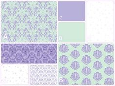 Baby Bedding - Mermaid and SeaShells- Lavender Mint - Purple and Green Crib Set- Sparkles- Toddler Bedding Sets, Baby Girl Bedding