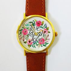 Live Laugh Love Floral Watch  Vintage Style Leather Watch Women Watches Boyfriend Watch  Watercolor  Calligraphy watch women watch boyfriend watch handmade wrist watch map watch accessories gifts unique inspirational quotes gifts for her spring floral crown 12.00 USD #goriani