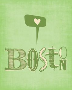 Boston Print Art I HEART BOSTON  8x10 by ParadaCreations on Etsy, $19.00