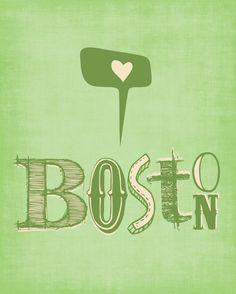 Boston Print Art I HEART BOSTON  8x10 by ParadaCreations on Etsy, $19.00
