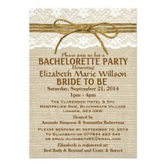 Rustic Twine Bow & Lace, Burlap Bachelorette Party Custom Invite This site is will advise you where to buyReview          	Rustic Twine Bow & Lace, Burlap Bachelorette Party Custom Invite Online Secure Check out Quick and Easy...
