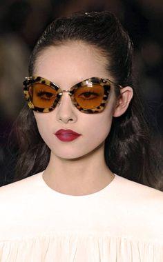 Miu Miu Noir Sunglasses. Beautiful lipstick too!