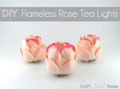 DIY Flameless Rose Tea Lights #wedding