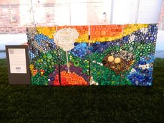 Bottle Cap Mural by students from Art With Ms. B. Blog
