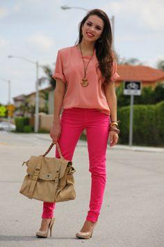 Look: Neon pink + nudes
