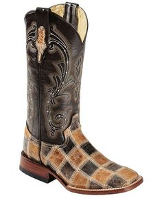 Ferrini Patchwork Cowgirl Boots - Square Toe