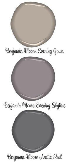 PAINT :: Benjamin Moore Evening Gown (greige), Evening Skyline & Arctic Seal (grays)
