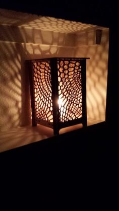 Laser cut Table Lamp laser cut candle holder honeycomb by LessEgo