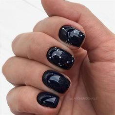 deep midnight navy nails with star constellation design is part of nails Simple Gel Gold Glitter - nails Simple Gel Gold Glitter Navy Nails, Gold Glitter Nails, Black Nails, Nail Manicure, Gel Nails, Acrylic Nails, Nail Polish, Mani Pedi, Cute Nails