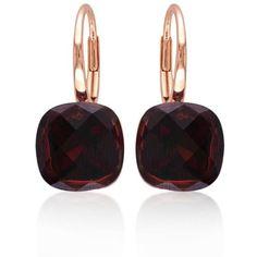 Belk  Co. Red 14K Rose Gold Garnet Earrings ($975) ❤ liked on Polyvore featuring jewelry, earrings, brincos, red, 14k earrings, 14 karat gold jewelry, cushion cut earrings, pink gold earrings and red jewelry