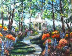 8x10 gazebo floral garden colorful print by AffordableARTbyRonda