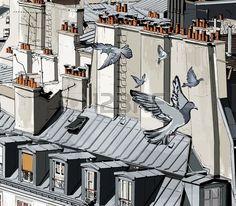 illustration de toits Paris Banque d'images